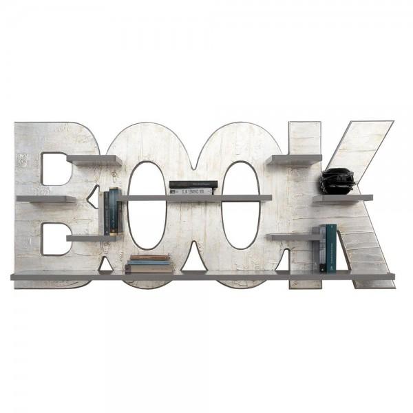 SILVER BOOK - Италиански декоративен рафт за книги, повърхност в сребристо
