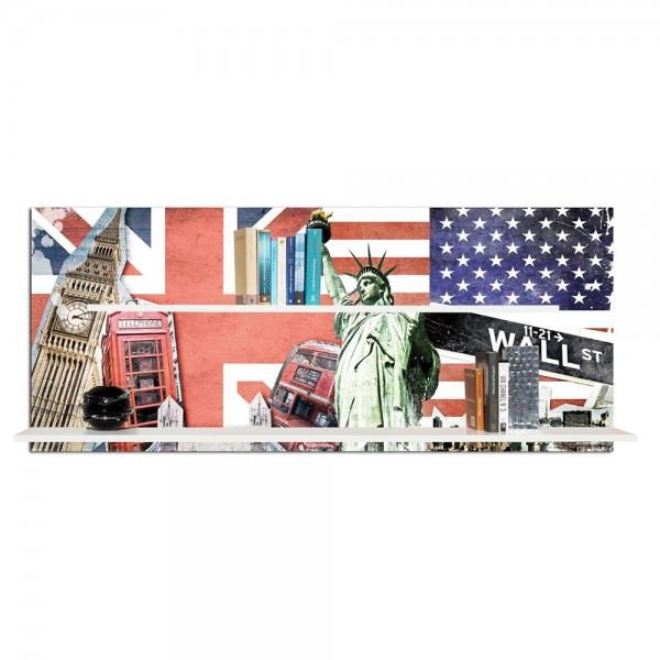 Дизайнерска библиотека за стена, DA LONDRA A NEW YORK от Pintdecor
