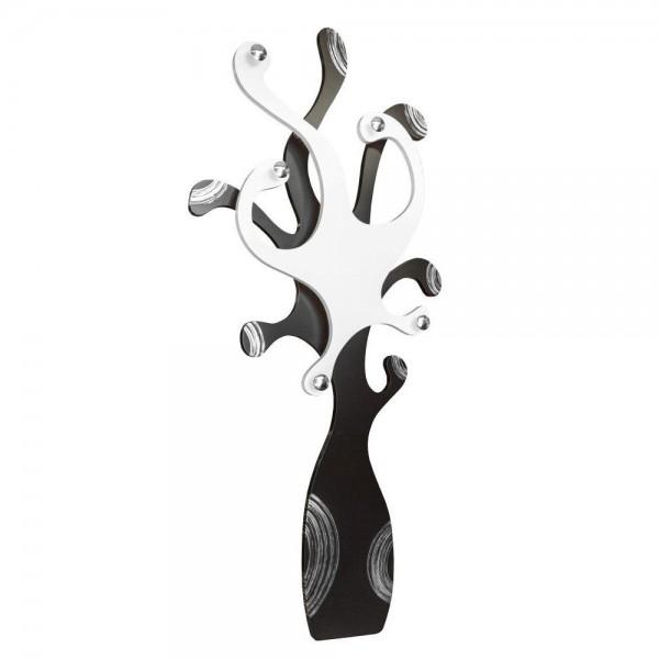 PIOVRA - Дизайнерска стенна закачалка, слонова кост и черен гланц