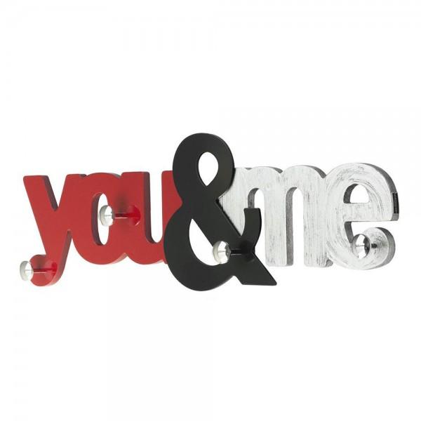 YOU & ME - Стенна закачалка, гланцов и сребрист ефект