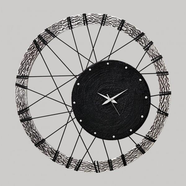 RUOTA - Италиански часовник за стена, сребриста релефна рамка