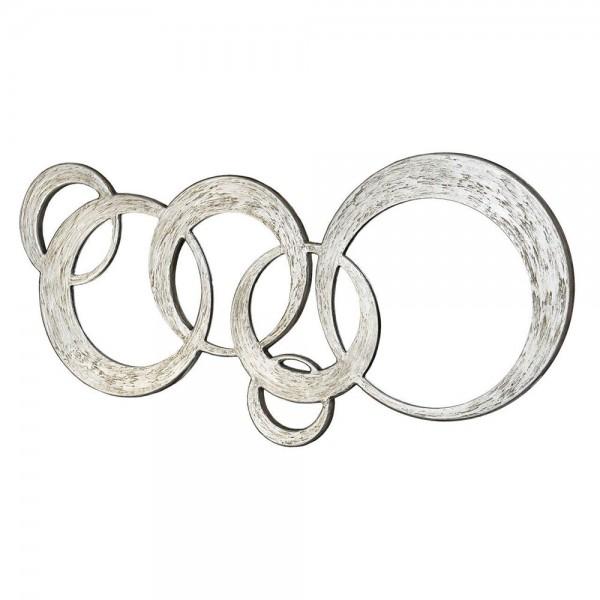 CIRCLES - Модерно стенно огледало, релефен сребрист ефект