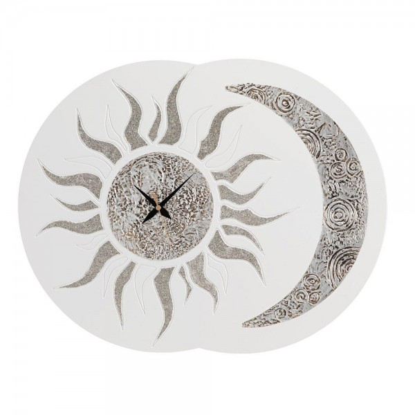 SOLE E LUNA - Дизайнерски стенен часовник, рамка от слонова кост и блестящи детайли