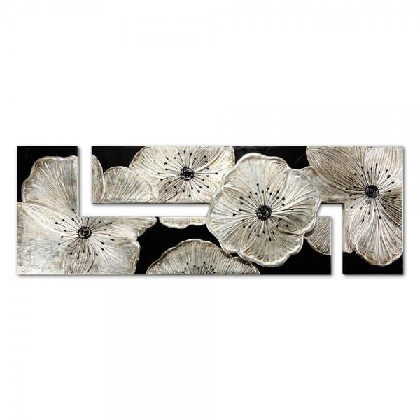 U.P3884 - Декоративно пано за стена. Аксесоари и декорация за дома внос от Италия. Серия PETUNIA - в сребро