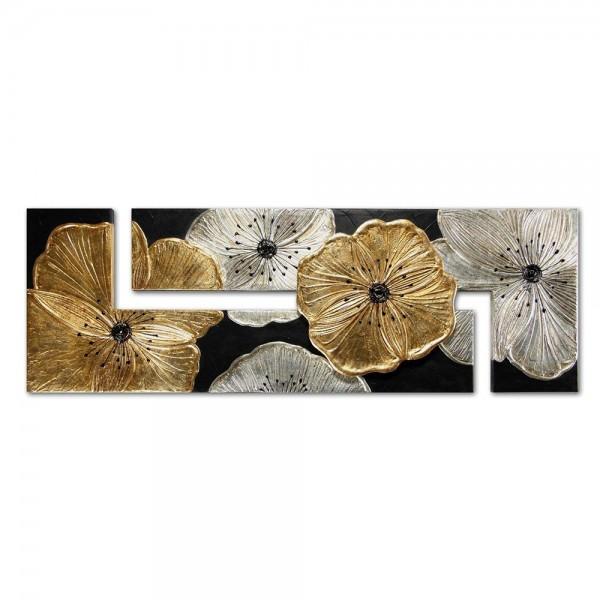 U.P3886 - Декоративно пано за стена. Съвременен интериор за всекидневна или трапезария. Серия PETUNIA - в сребро и злато