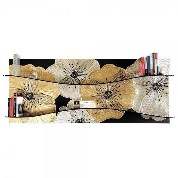 PETUNIA ORO - Декоративна етажерка за книги, златиста и сребриста декорация