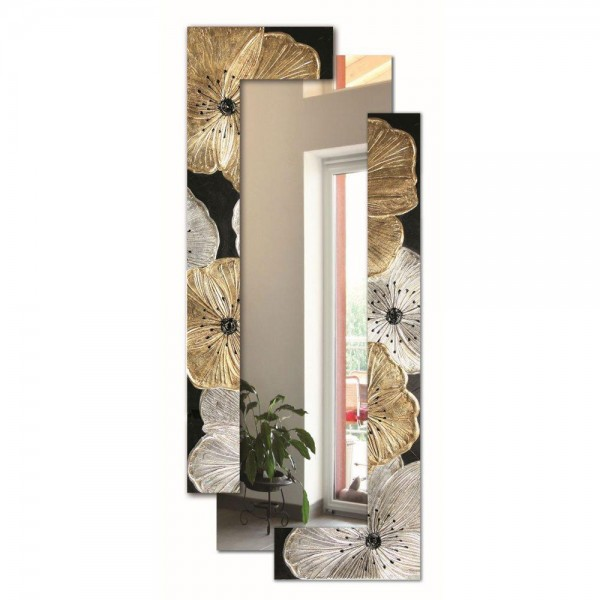 PETUNIA ORO SCOMPOSTA - Италианско стенно огледало, декорация в сребристо и златисто