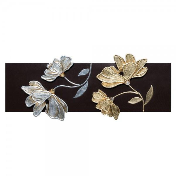 FIORI LUCENTI - Декоративно пано за стена със сребриста и златиста декорация