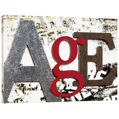 AGE - Панo за стена, сребрист и ръждив ефект