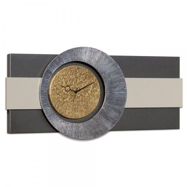 ORIONE - Часовник за стена, канава в цвят антрацит, сребриста и златиста декорация