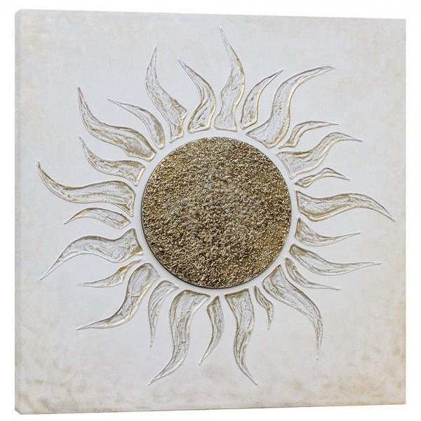 SOLE BIANCO - Пано за стена с релефни керамични детайли със сребърен ефект