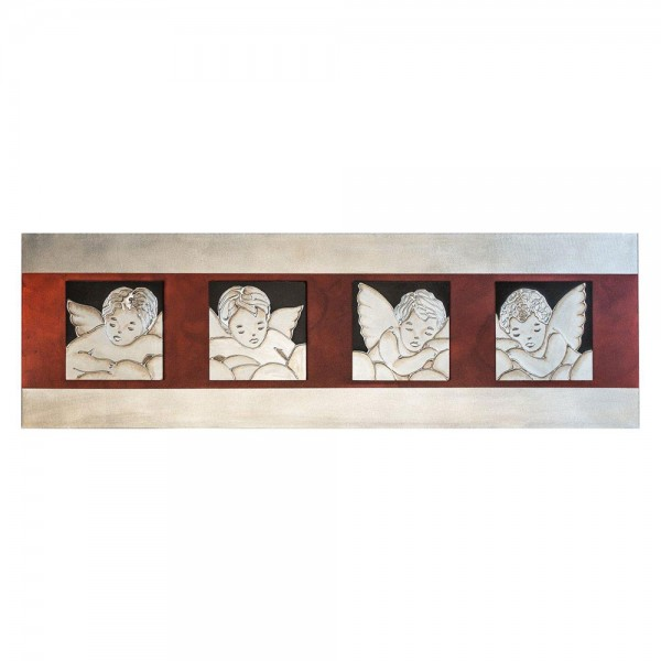 ANGELI IN PARADISO - Пано за стена с релефни смолисти и сребристи акценти