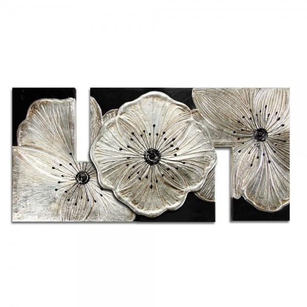 R.P3884 - Декоративно пано, с L-образна релефно декорирана основа. Аксесоари и декорация за дома внос от Италия. Серия PETUNIA - в сребро