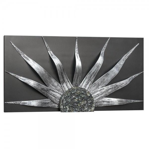 R.P4534 - Луксозна декорация за стена. Серия SOLAR - основа антрацит, орнамент в сребро и олово