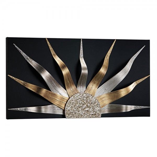 R.P4536 - Луксозно пано за стена. Серия SOLAR - черна основа с орнамент в сребро и злато