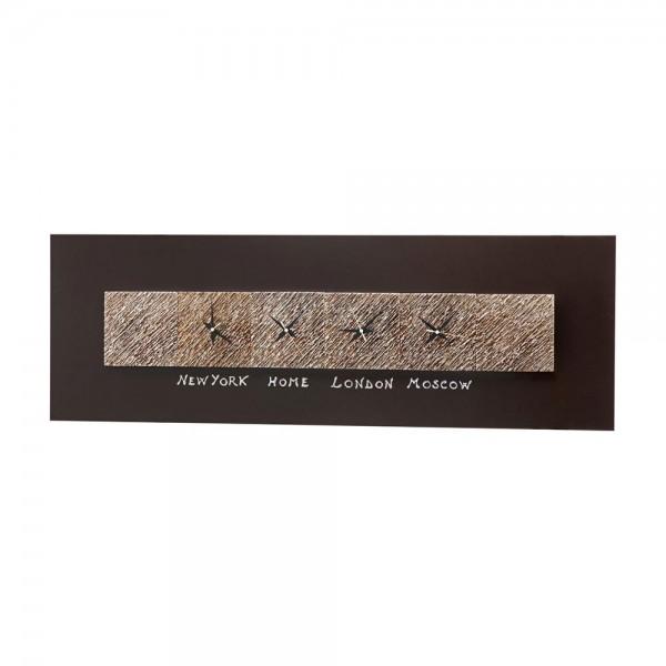 MINUTI SECONDI - Стенен часовник, канава в цвят кафе, шест керамични елемента