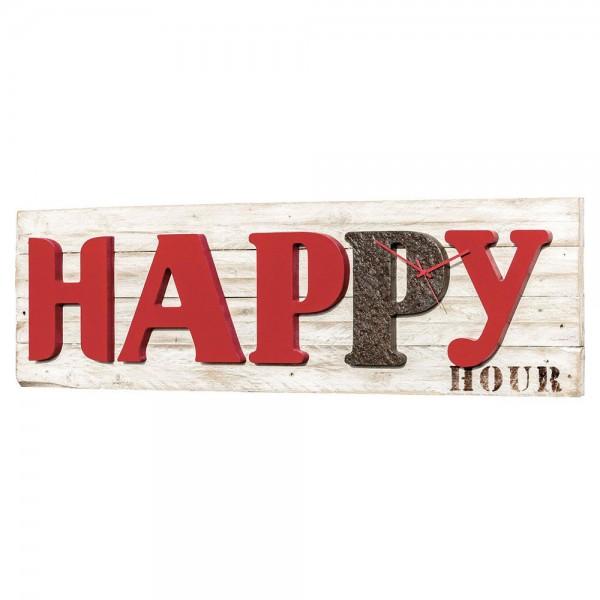 HAPPY HOUR - Релефен стенен часовник, червен гланц и ръждив ефект