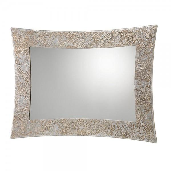 Q.P3260 - Стенно огледало, с ръчно декорирана релефна основа, VEGA - със сребърна текстура