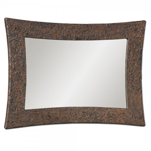 SIRIO - Италианско стенно огледало, релефен ръждив ефект