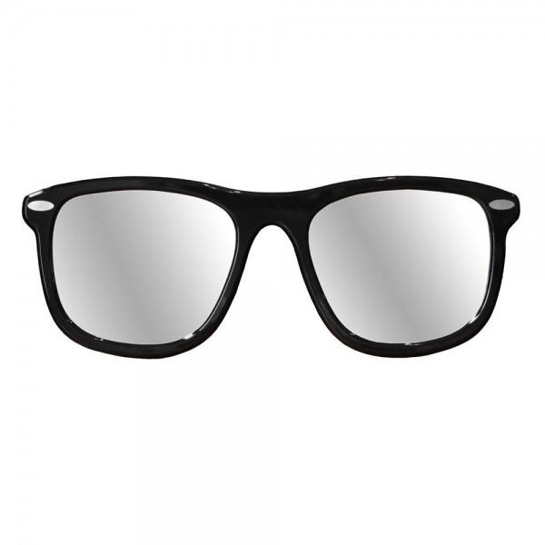 P4400 - Дизайнерско стенно огледало, с форма на очила - черна основа