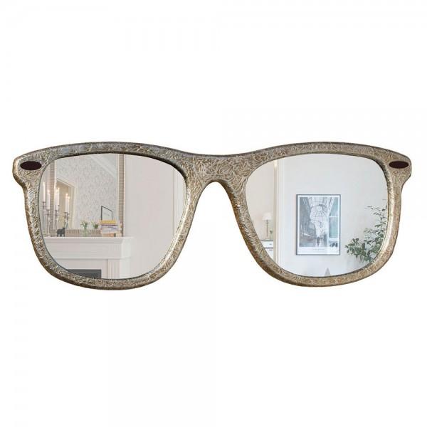 P4401 - Огледало с форма на очила - релефна основа, със сребърен ефект