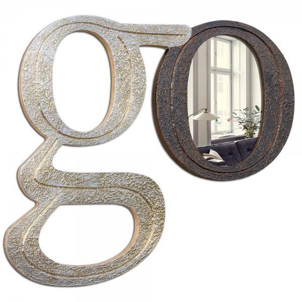 COME HERE - Огледало за стена със сребрист и ръждив финиш