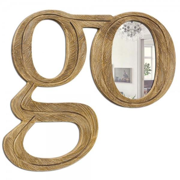 GO UP - Стенно огледало, златисто релефно покритие