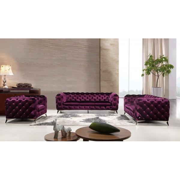 S.1546 - Текстилна мека мебел в съвременен стил. 3-ка диван с тапицерия от луксозен вишнев текстил