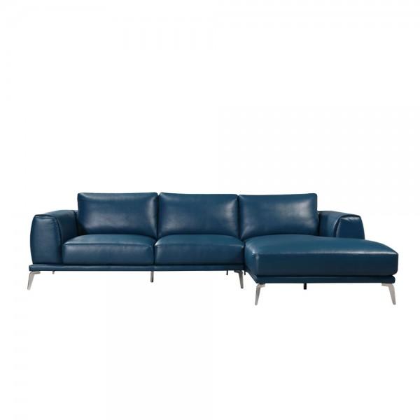 U.1579 - Модерен ъглов диван с тапицерия от синя естествена кожа