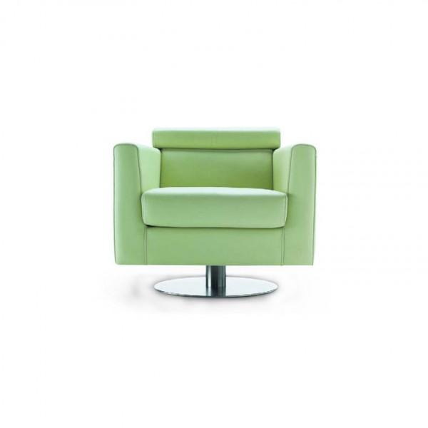 200 - Модерно кресло, с тапицерия от зелена естествена кожа