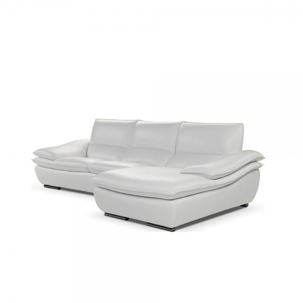 H.882A - Модерен кожен ъглов диван с тапицерия от бяла естествена кожа