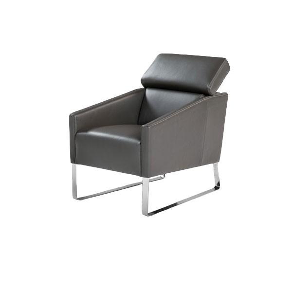 802 - Модерно италианско кресло с черна естествена кожа