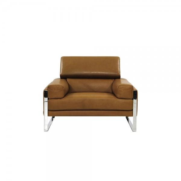 Cal 808 - Модерен фотьойл, със светло кафява кожа