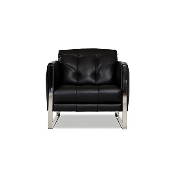 814 - Модерно черно кожено кресло