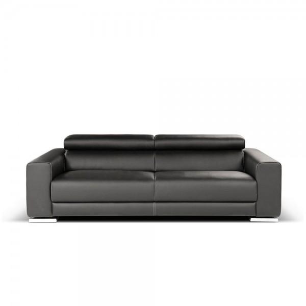 879 - Мека мебел с черна естествена кожа