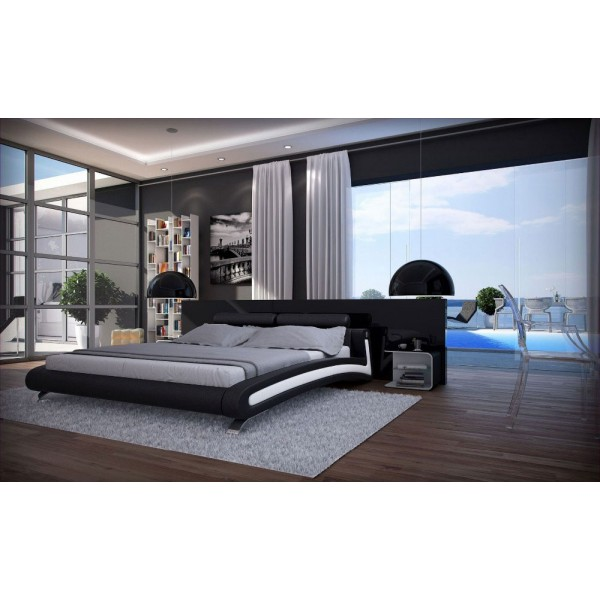TREVISO - Модерна кожена спалня в черно и бяло