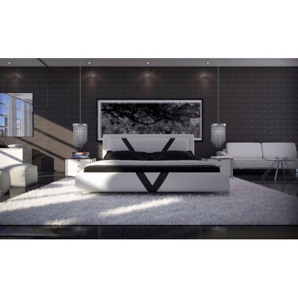 J230 - Спалня с модерен дизайн в черна - бяла кожа