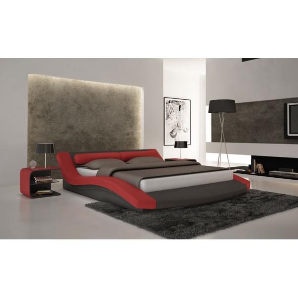 S618 - Модерна спалня в черна и червена кожа