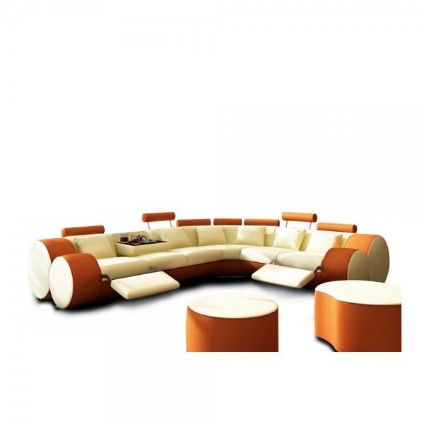 T.3087 - Кожен диван с иновативен дизайн в оранжево - бял цвят
