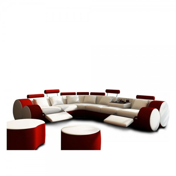 T.3087 - Модерен кожен ъглов диван