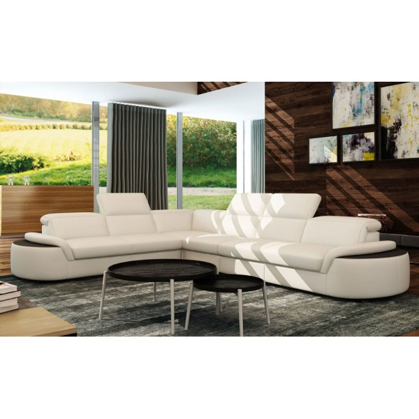 5122 - Модерна ъглов кожен диван