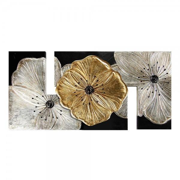 PETUNIA ORO PICCOLA - Ръчно декорирано пано със златист и сребрист ефект
