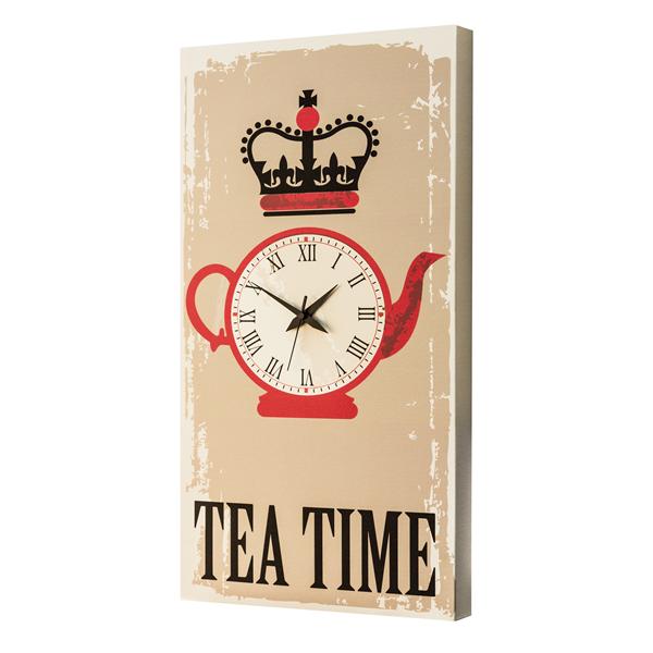 Модерен стенен принт часовник, TEA TIME от Pintdecor