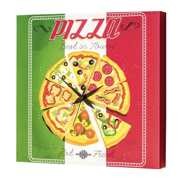 Модерен стенен принт часовник, PIZZA TIME от Pintdecor