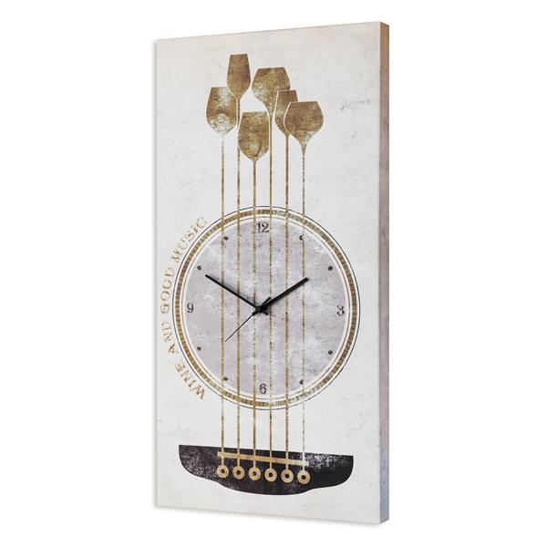 Модерен стенен принт часовник, WINE MUSIC от Pintdecor