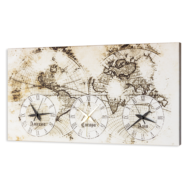 Модерен стенен принт часовник, OLD MAP от Pintdecor