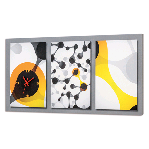 Дизайнерски стенен принт часовник, GIALLO e NERO от Pintdecor