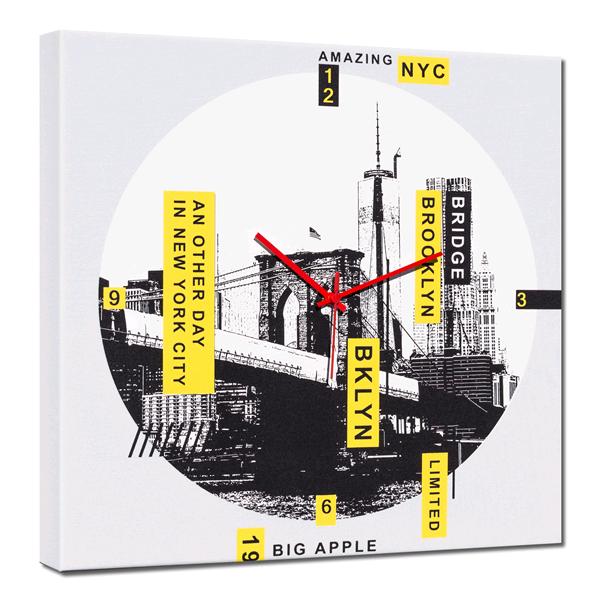 Дизайнерски стенен принт часовник, BIG APPLE от Pintdecor