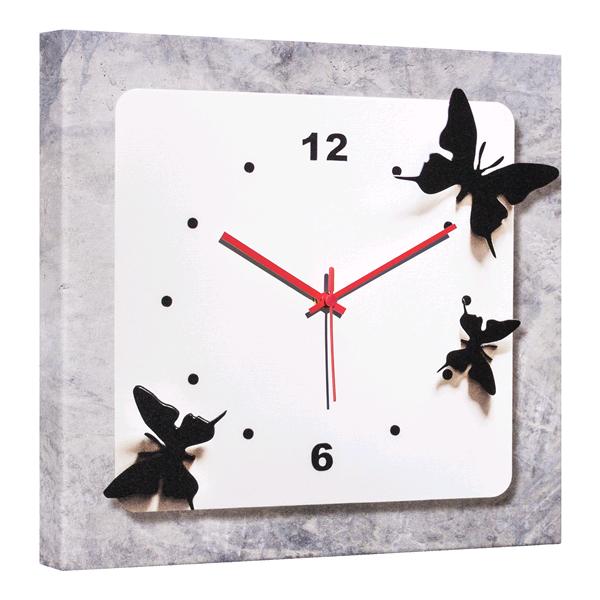 Модерен стенен принт часовник, FARFALLE NERE от Pintdecor