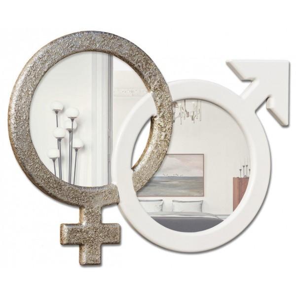SYMBOL - Дизайнерско стенно огледало, рамка в сребристо и слонова кост